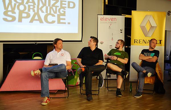 Predrag Lesic, John Biggs, Ivan Brezak Brkan and Cosmin Ochisor paying attention to startup's pitching (Photo: Marina FIlipović Marinshe)