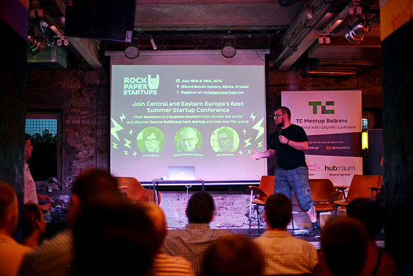 Ivan Brezak Brkan invited visitors of TC Meetups to the RockPaperStartup conference.