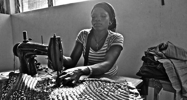 Mbalu Bangura from Bangura Bags where she makes handbags out of used bicycle tyres.