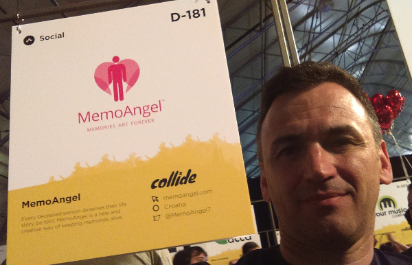 Roberto Srpak, founder of MemoAngel, at his booth at the Collision Conference.