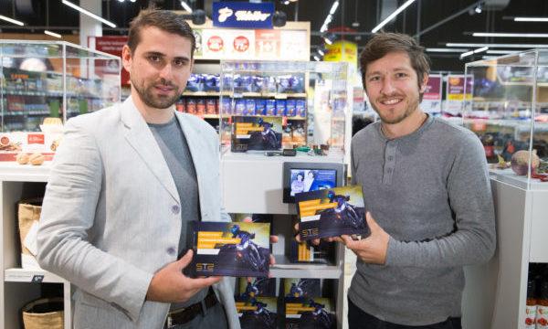 Miha Kovač and Rok Upelj, founders of Smart Turn System, with their product in Interspar supermarket, Slovenia. (photo: Štartaj Slovenija)