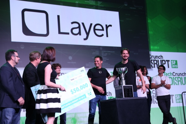 Layer's Ron Palmeri and Tomaz Stolfa accept the Startup Battlefield title.