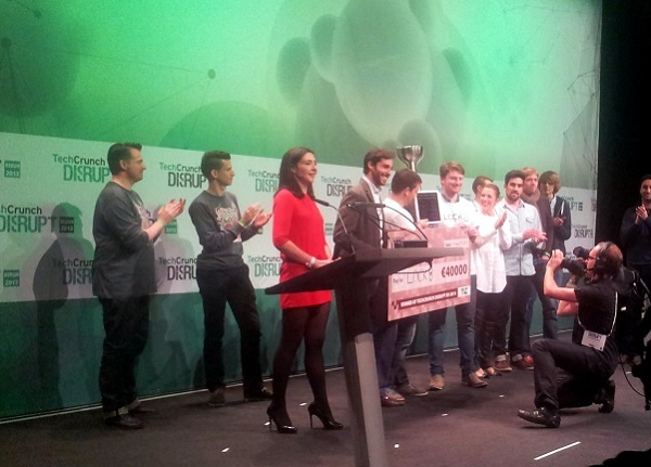 Announcement of the TechCrunch Disrupt Europe winner.