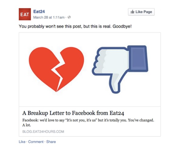 Eat24 said goodbye to Facebook.